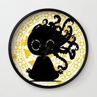 yoga Wall Clocks featuring Yoga by BLOOP