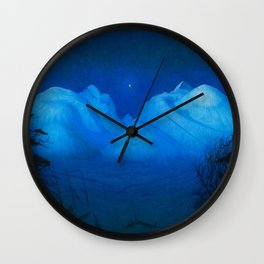North Star Rising - Winter Night in the Alpine Mountains by Harald Sohlberg Wall Clock