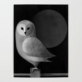 Barn Owl Full Moon Poster