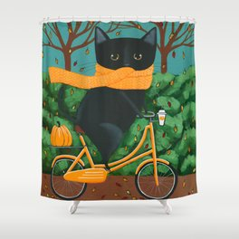 Black Cat Autumn Bicycle Ride Shower Curtain