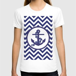 Anchor on Blue and White Chevron Pattern. T-shirt