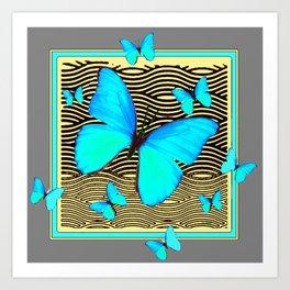 Blue Butterflies On black-yellow Grey Patterns Art Print