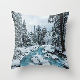 Blue Winter in Yosemite Throw Pillow