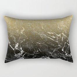 Modern girly luxurious faux gold glitter black marble pattern Rectangular Pillow