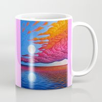 sia Mugs featuring reflection of the moon on the sea by giol's