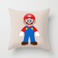 sticker Throw Pillows featuring Sticker Mario by Rebekhaart