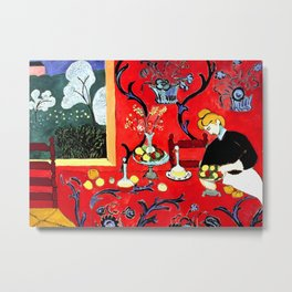 Henri Matisse, The Dessert, Harmony in Red, 1908 Artwork for Wall Art, Prints, Posters, Tshirts, Men, Women, Kids Metal Print