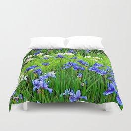BLUE & WHITE  IRIS FLOWER GARDEN Duvet Cover
