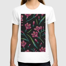Embroidered Flowers on Black Pattern 07 T-shirt