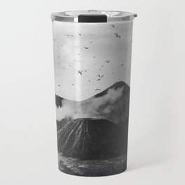Birds Over Mount Bromo, Indonesia Black and White Travel Mug
