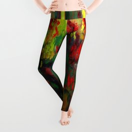 Chartreuse Decorative Red Geraniums Still Life  Painting Leggings