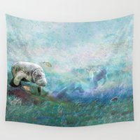 cows Wall Tapestries featuring Sea Cows by Kevin Thomas