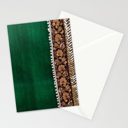-A11- Tradtional Textile Moroccan Green Artwork. Stationery Cards