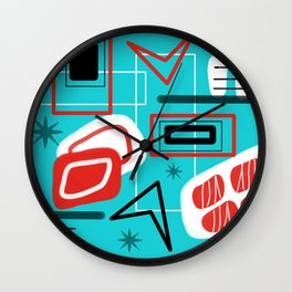 Turquoise Red Black Mid Mod Print Wall Clock