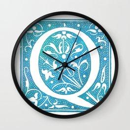 Letter Q Antique Floral Letterpress Monogram Wall Clock