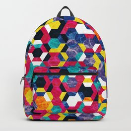 Colorful Half Hexagons Pattern #06 Backpack
