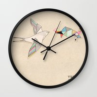wesley bird Wall Clocks featuring bird by Belén Segarra