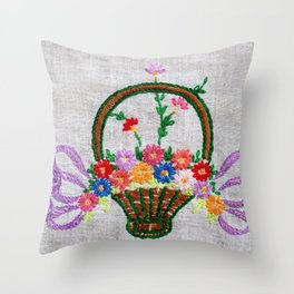 Flower Basket Embroidery Throw Pillow