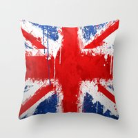 british Throw Pillows featuring BRITISH FLAG by Sophie