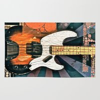bass Area & Throw Rugs featuring Elvis' Bass by Amber Dawn Hilton