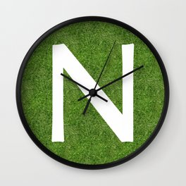 N initial letter alphabet on the grass Wall Clock
