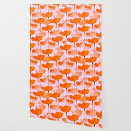 Orange Poppies On A Pink Background #decor #society6 #buyart Wallpaper