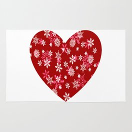 Red Heart Of Snowflakes Loving Winter and Snow Rug