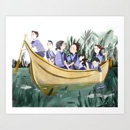 Yellow School Boat Art Print