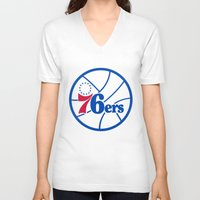 nba V-neck T-shirts featuring NBA - 76ers by Katieb1013