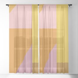 Shapes in Vintage Modern Pink, Orange, Yellow, and Lavender Sheer Curtain
