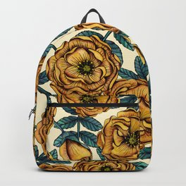 Golden Yellow Roses - A Vintage-Inspired Floral/Botanical Pattern Backpack
