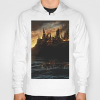potter Hoodies featuring Harry Potter - Hogwart's Burning by Juniper Vinetree