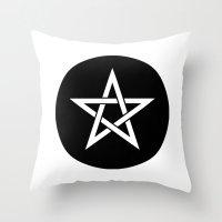 pentagram Throw Pillows featuring Pentagram Ideology by ideology