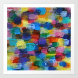 Colorful Abstract Art Brushstrokes in Yellow, Blue, Turquoise Art Print