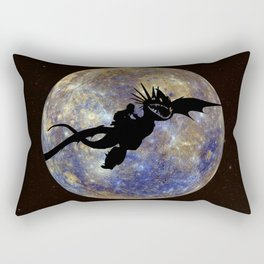 Astrid and Stormfly Silhouette - Flying Across Mercury -How to Train Your Dragon Rectangular Pillow