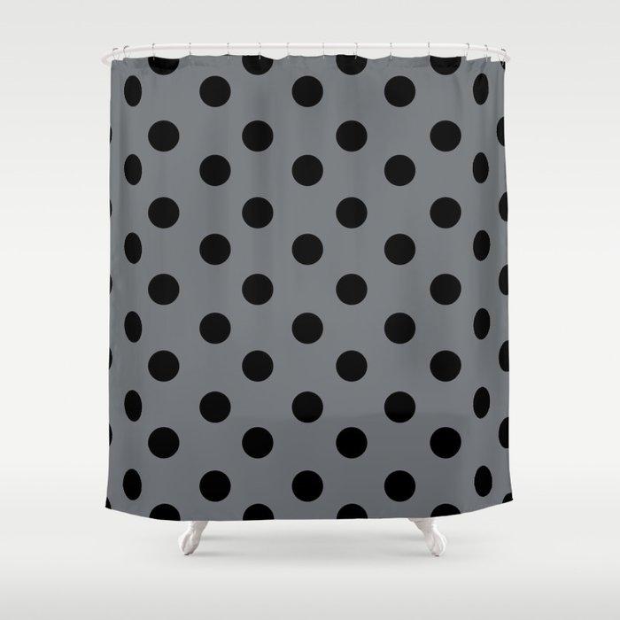 Grey Black Polka Dots Shower Curtain