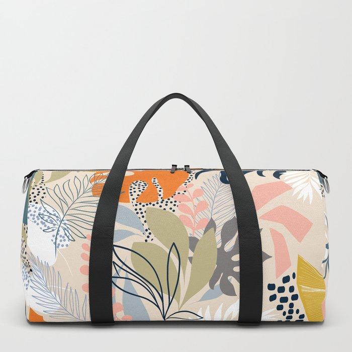 Tropical Foliage Pattern 1 - Retro Boho Duffle Bag