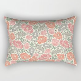 Orange poppies and red roses with keys on light background Rectangular Pillow