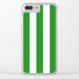 Forest green (web) - solid color - white vertical lines pattern Clear iPhone Case