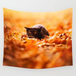 Autumn cat Wall Tapestry
