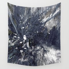 wood flower_blue Wall Tapestry