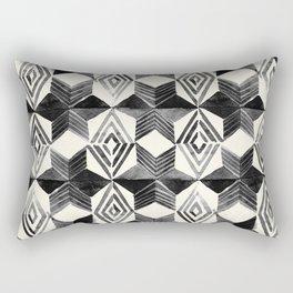 Shibori Diamond Stars Black Earth and Ivory Rectangular Pillow