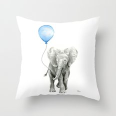 Baby Animal Elephant Watercolor Blue Balloon Baby Boy Nursery Room Decor Throw Pillow