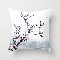 karma Throw Pillows featuring Karma by Jenndalyn