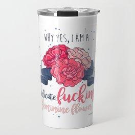 Delicate Feminine Flower Travel Mug