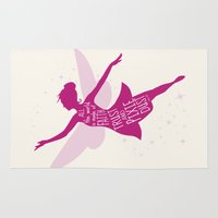 tinker bell Area & Throw Rugs featuring All the World is made of FAITH, TRUST and PIXIE Dust - Tinker Bell Inspired Art Print  by Kitchen Bath Prints