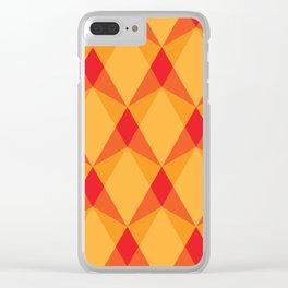Complex interlocking hexagon and diamond pattern (orange) Clear iPhone Case