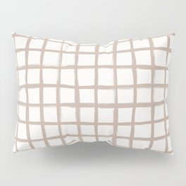 Strokes Grid - Nude on Off White Pillow Sham
