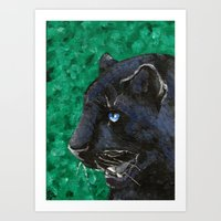 panther Art Prints featuring Panther by Kelly Katastrophe