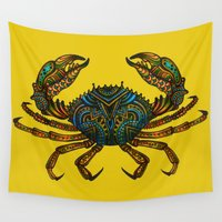 crab Wall Tapestries featuring CRAB by Claire Cousins